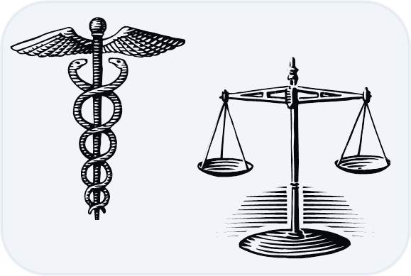 medical staff and scales of justice