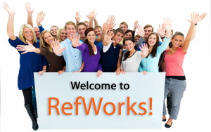 People around a Welcome Refworks sign