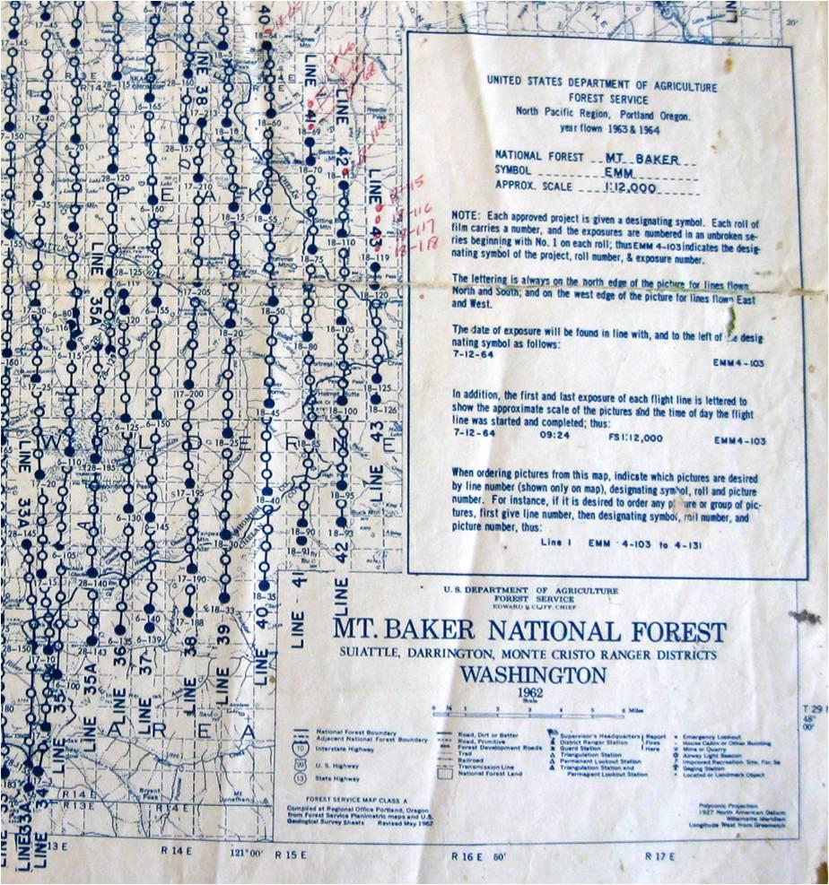Portion of index map for 1963-64 Flight over Mt. Baker National Forest