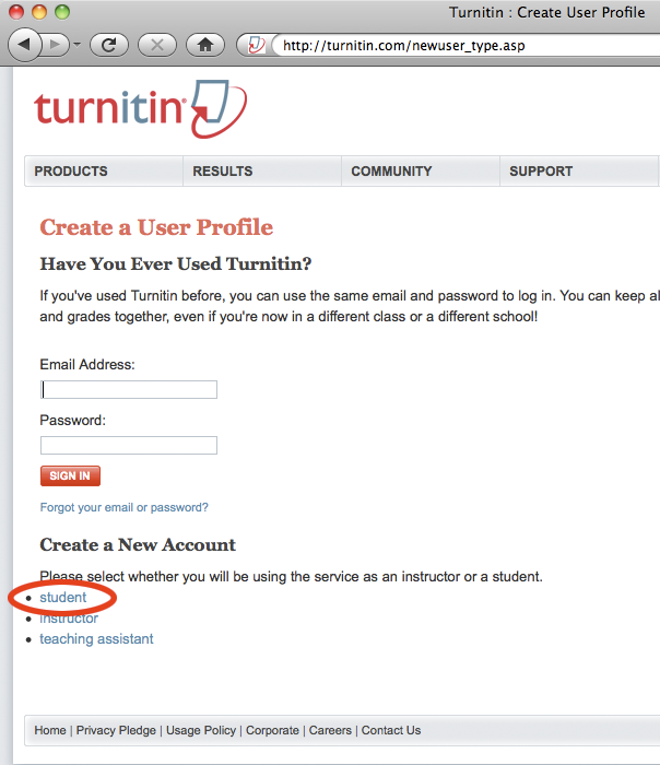 Create student TurnItIn account