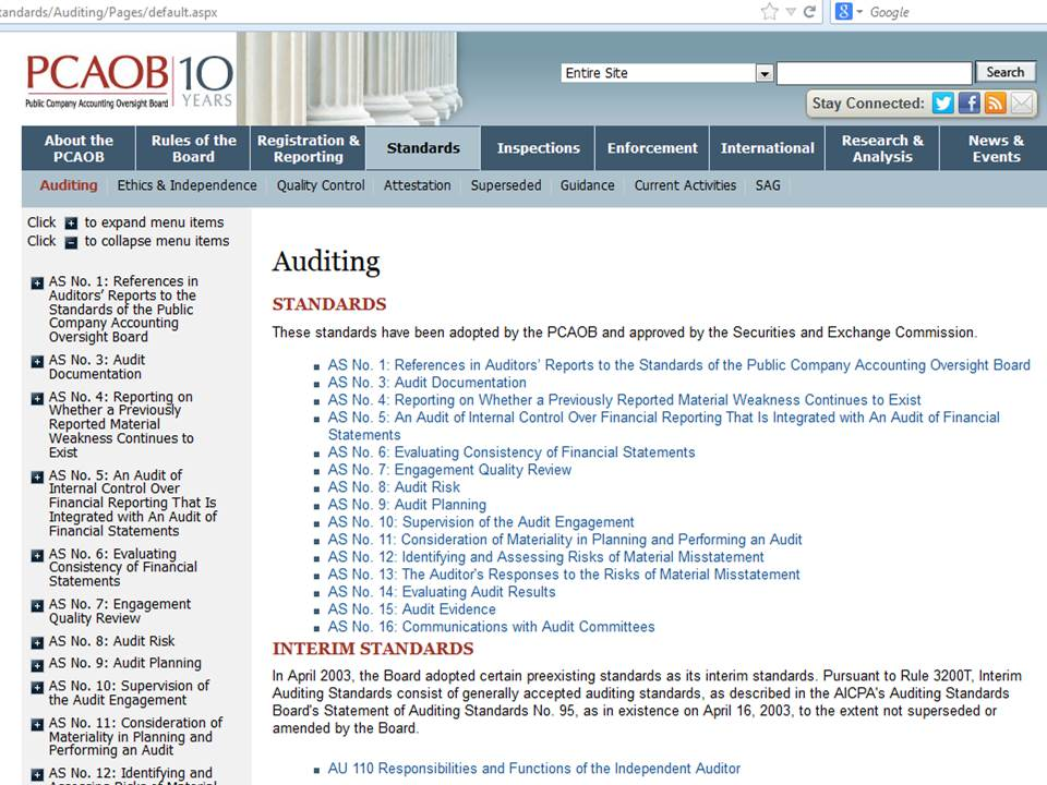 PCAOB Auditing Standards