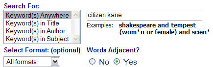 screen shot for library catalog showing keyword search