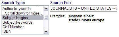screen shot from library catalog showing a subject search
