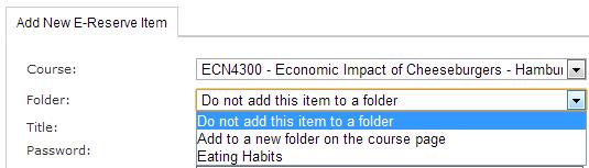 E-Reserves folder options