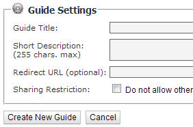 Guide Settings options