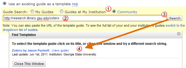 Guide search using the URL of a guide