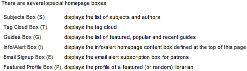 Screen shot of homepage box descriptions.