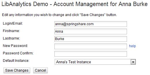 LibAnalytics Account Info Screen