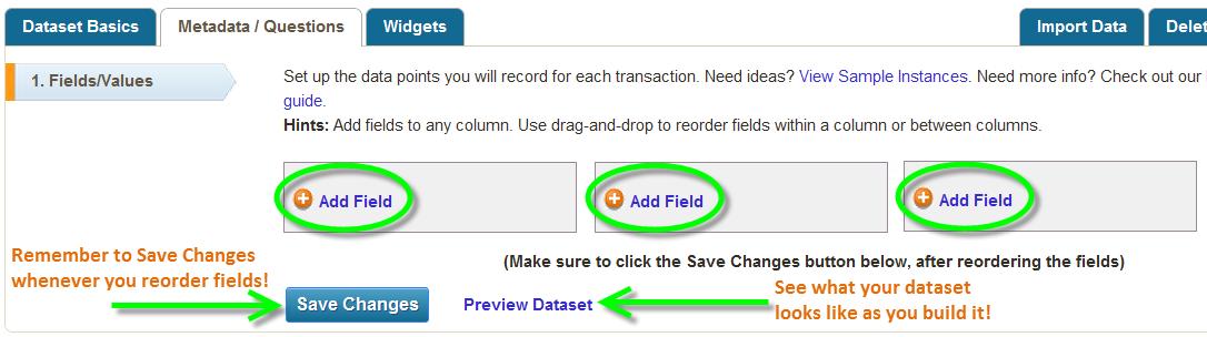Adding/reordering metadata fields