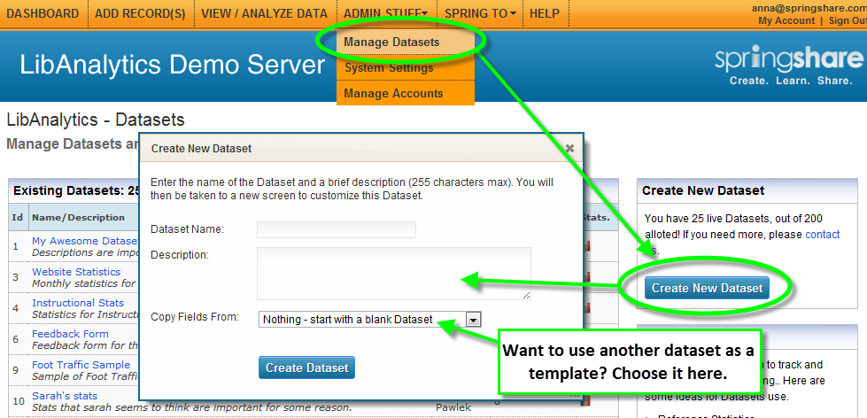 Creating a dataset