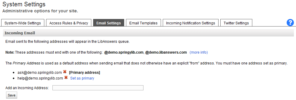 Email Management Settings
