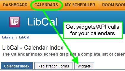 Finding Calendar Widgets in LibCal