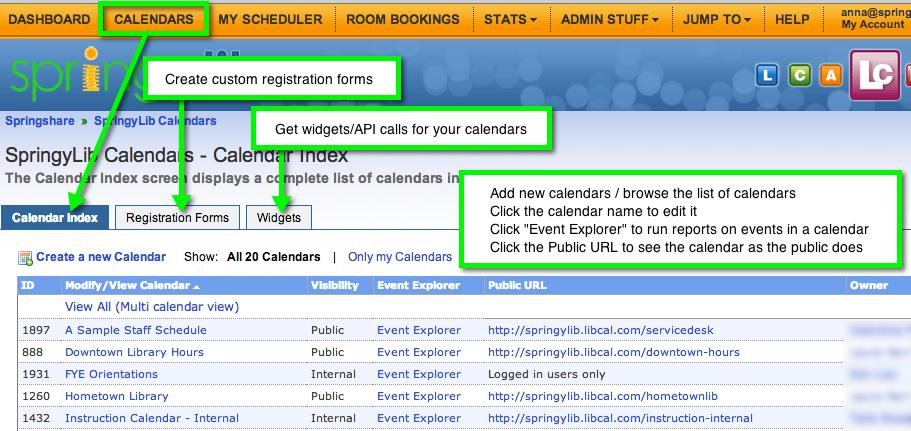 Main LibCal calendars page
