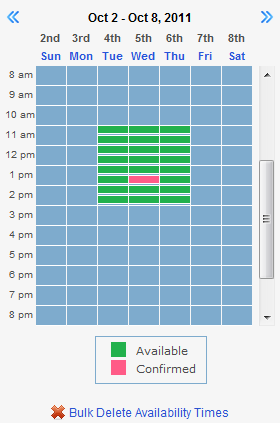 Availability - calendar view