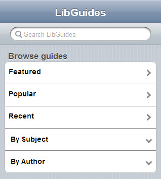 LibGuides mobile homepage