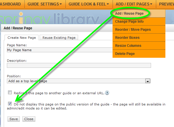 hiding page when adding
