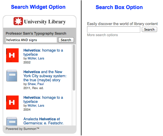Search box options when using the Summon Widgets tool.