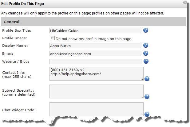 Screen shot of edit profile screen on a page.