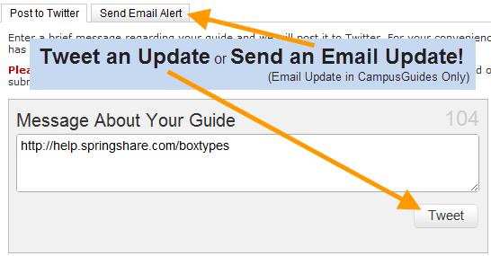 Send an Update screen