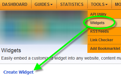 Tools menu - showing Widgets