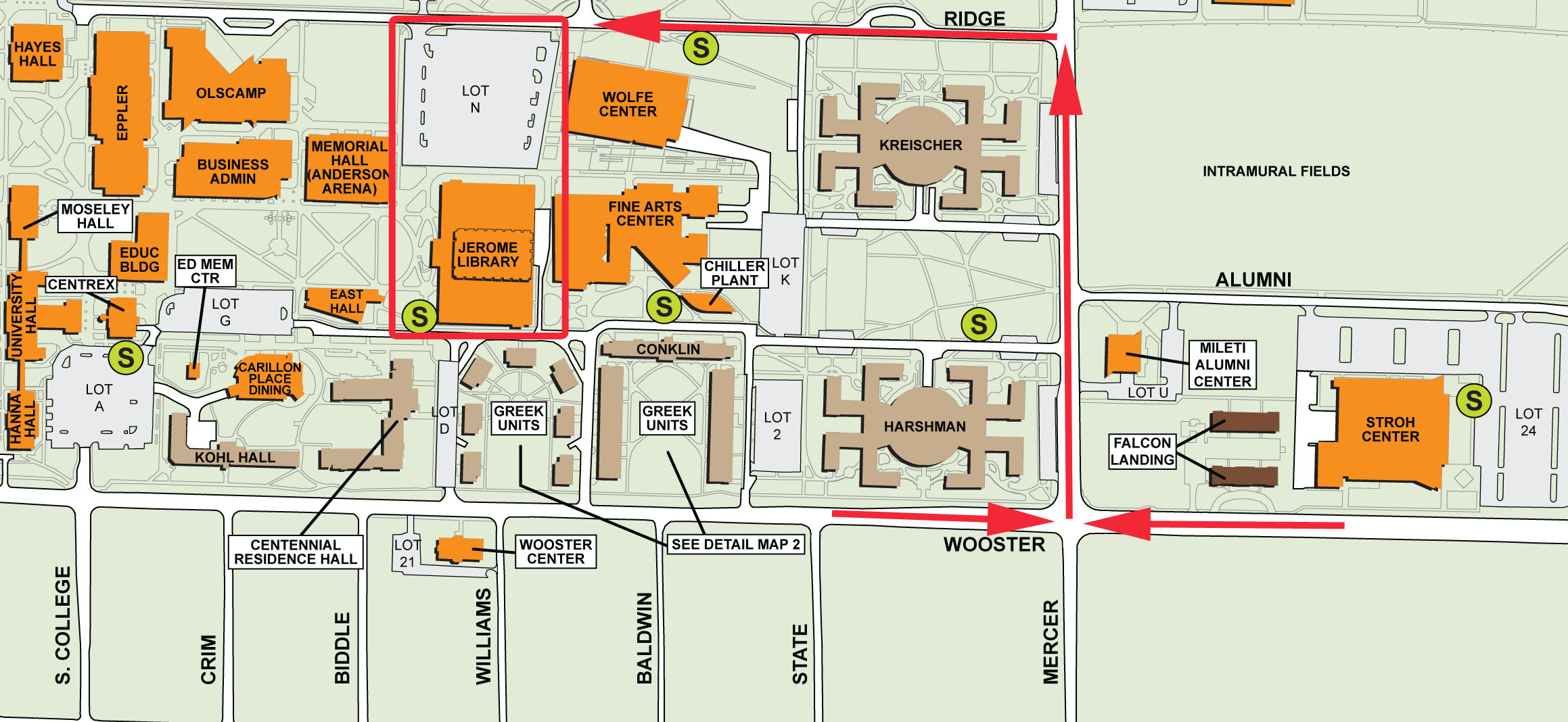map of Bowling Green Campus