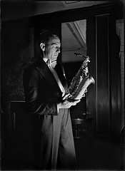Sam Babicci holding saxophone