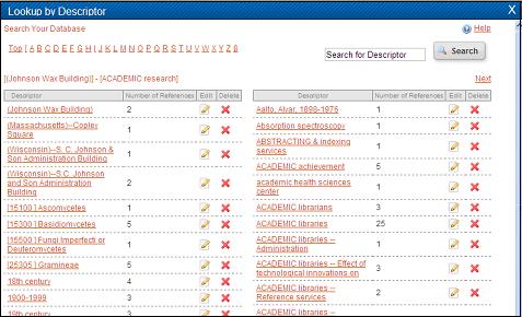 Descriptor browse screen