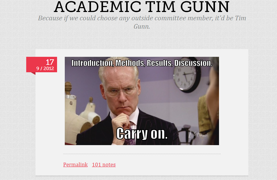 tumblr post - academic tim gunn (from september 16 2012)
