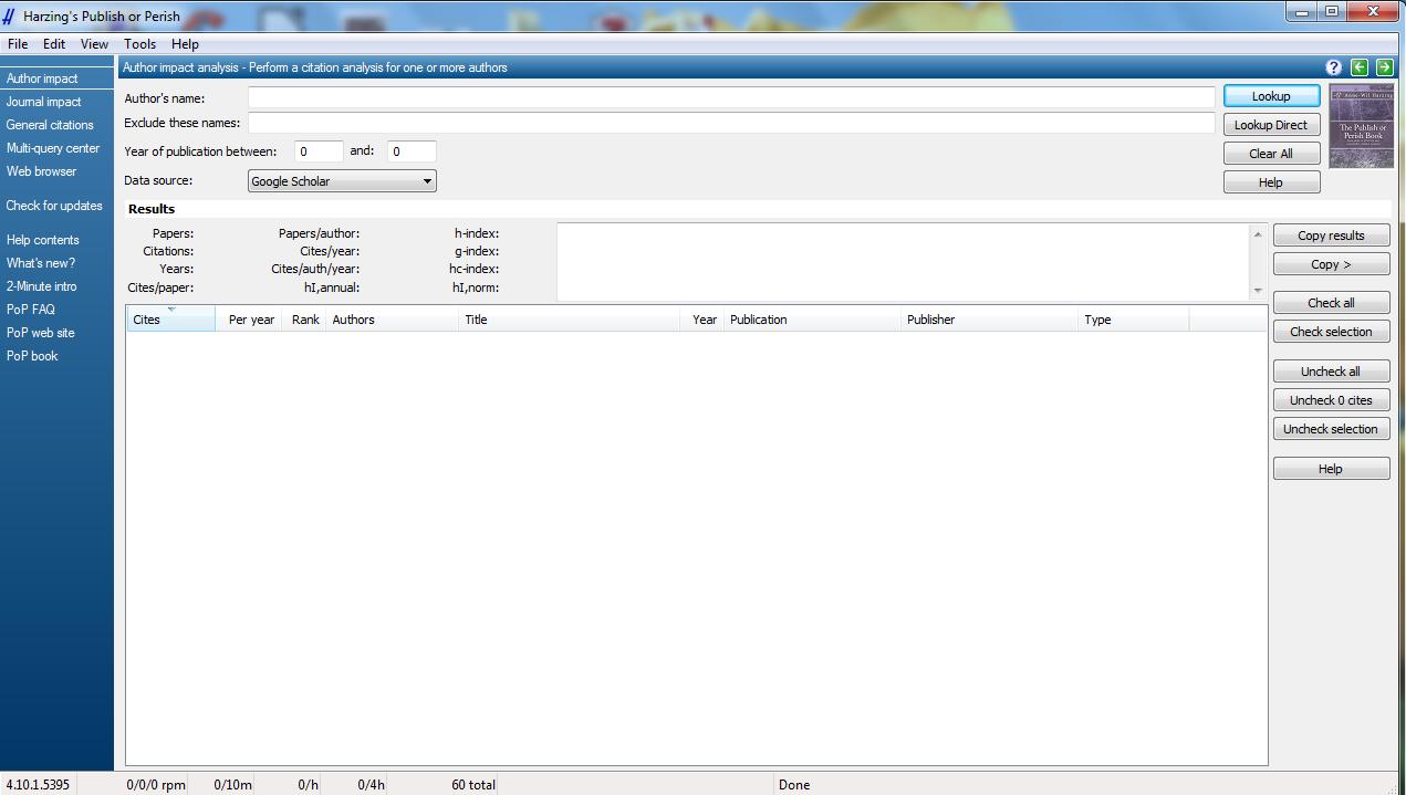 screenshot of harzings publish or perish application