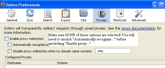 zotero preferences - proxies