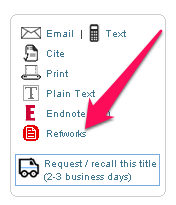 location of Refworks link in UNC catalog