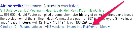 location of refworks link in google scholar search results
