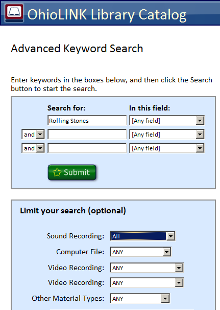 Illustration of the Advanced Keyword Search page of the OhioLINK Library catalog