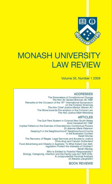 Monash University Law Review cover