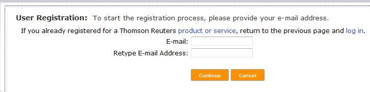 EndNote Online registration page