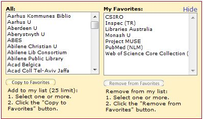 select favourite databases