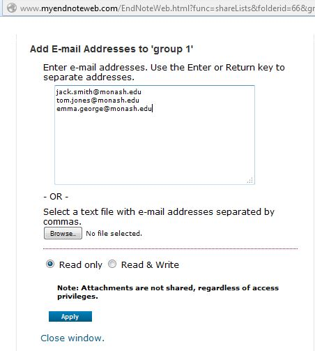 Sharing email address input ox