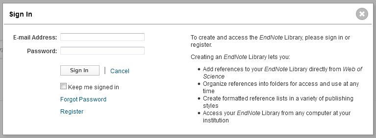 Web of Science registration form