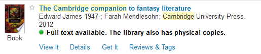 A brief result display for 'The Cambridge companion to fantasy literature'