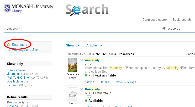Search results page with 'Save query' option on the left hand side highlighted