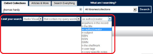 SOLO screen show showing drop down menus for limiting your search