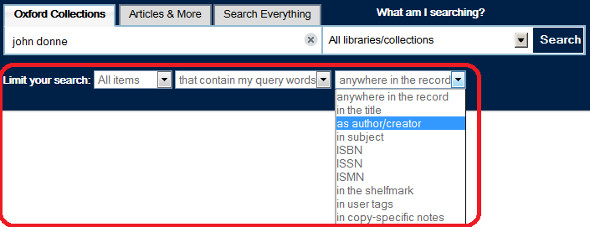 SOLO screen shot showing limiting your search by author, title, subject etc