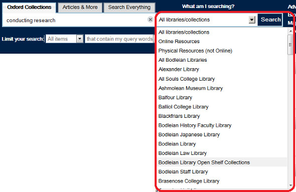 SOLO screen shot showing limiting your search to a particular library or to online resources only