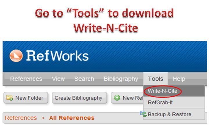 Write-N-Cite RefWorks 2.0 Image