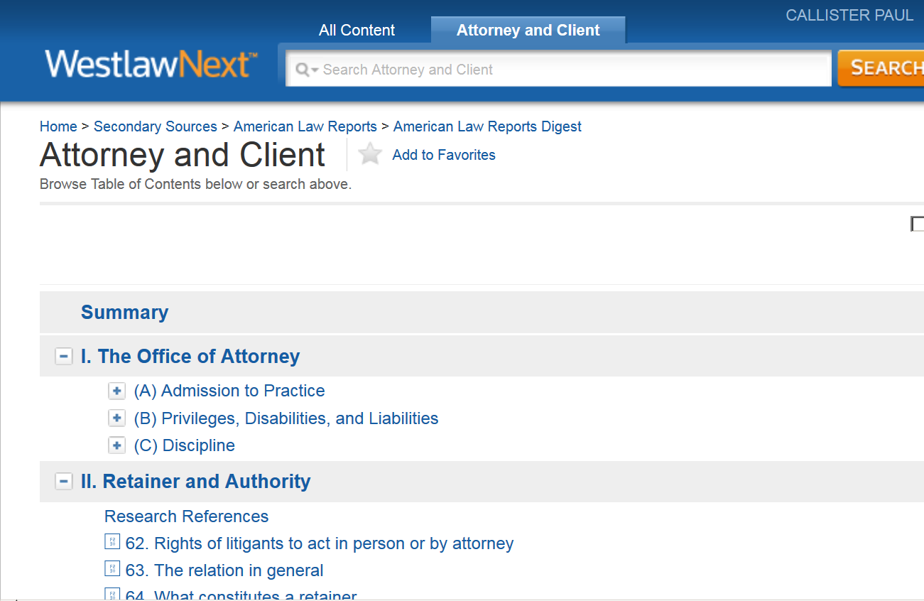 Image from ALR Digest of Attorney and Client Topic