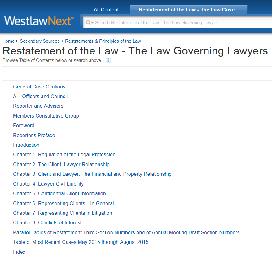 Restatement of the Law Governing Lawyers