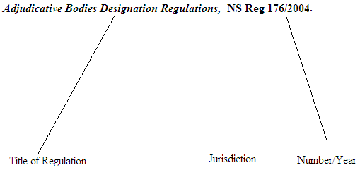 Citation of Regulation
