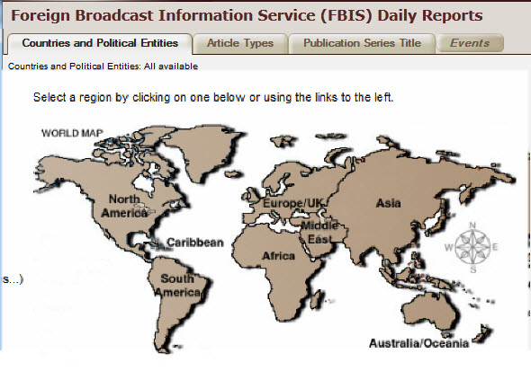 Screen capture of the Foreign Broadcast Information Service.