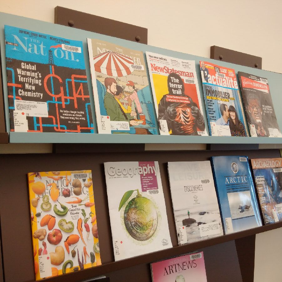 A few magazines on a shelf in Porter's Sims Reading Room