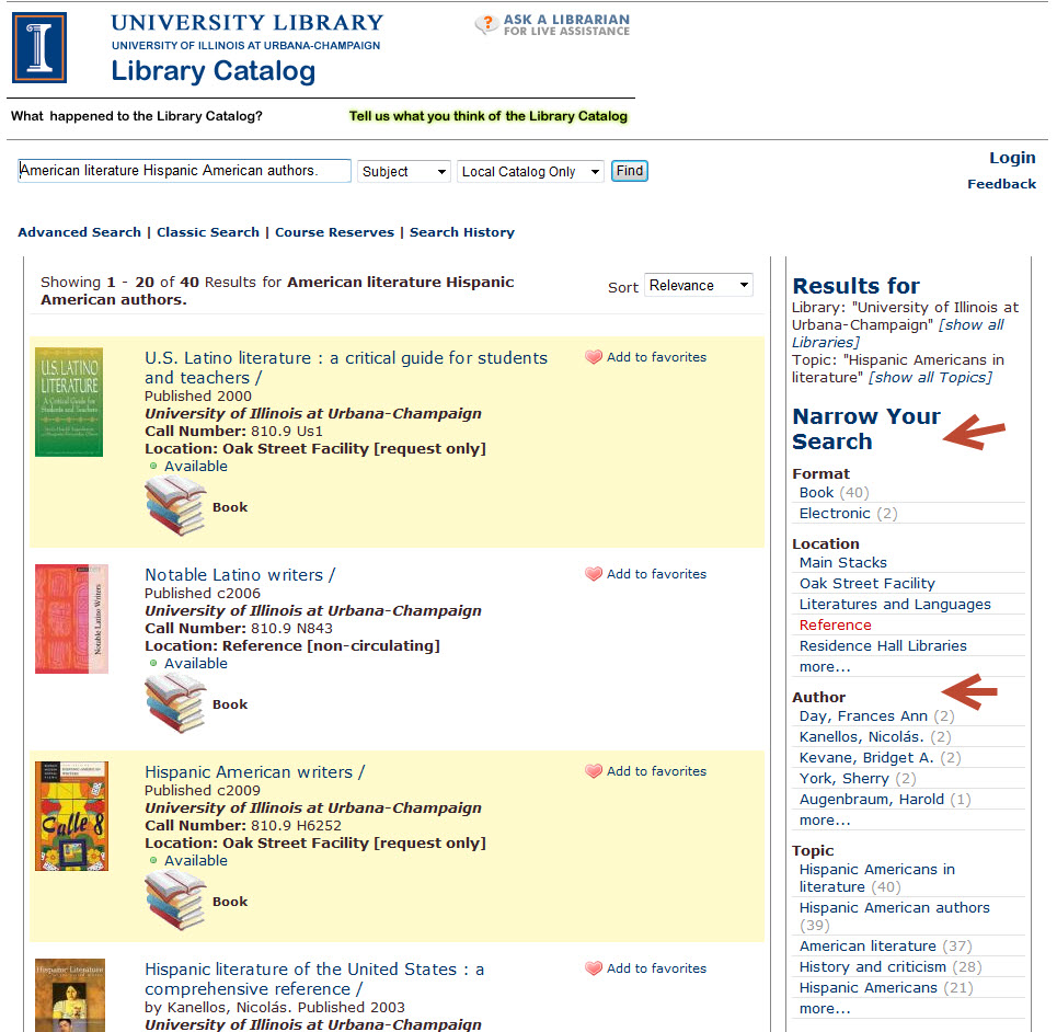 Image of Latino authors library search